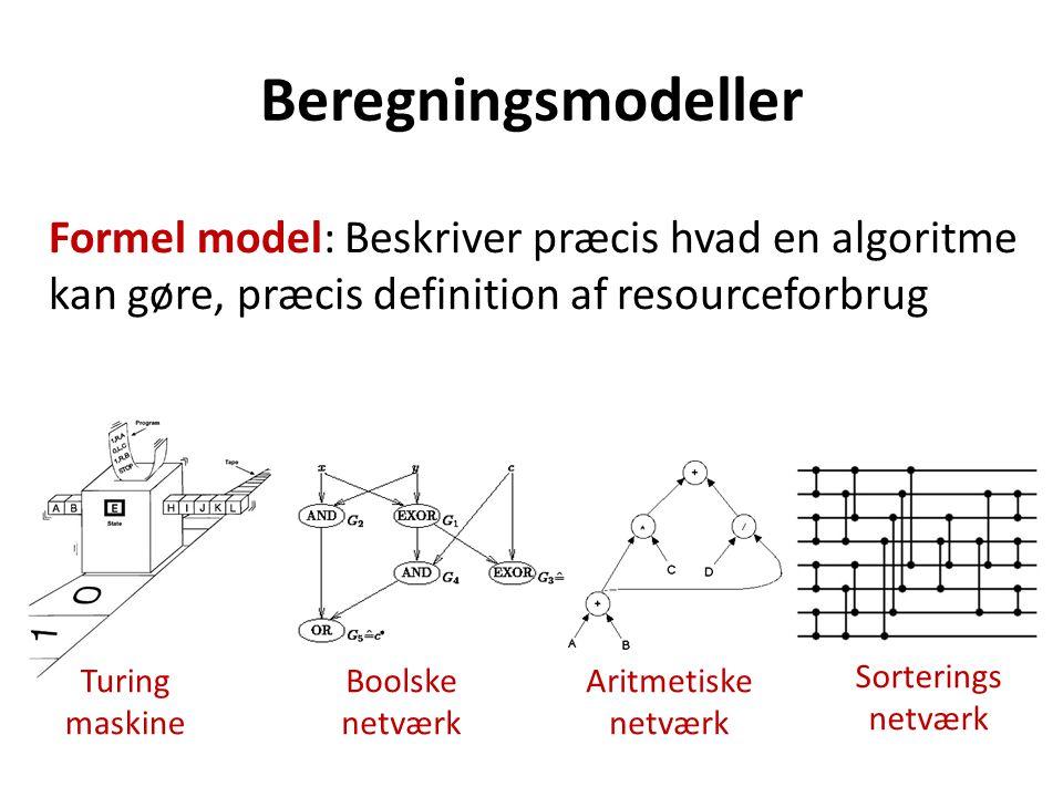 Beregningsmodeller Formel model: Beskriver præcis hvad en algoritme kan gøre, præcis definition af resourceforbrug Aritmetiske netværk Turing maskine Boolske netværk Sorterings netværk