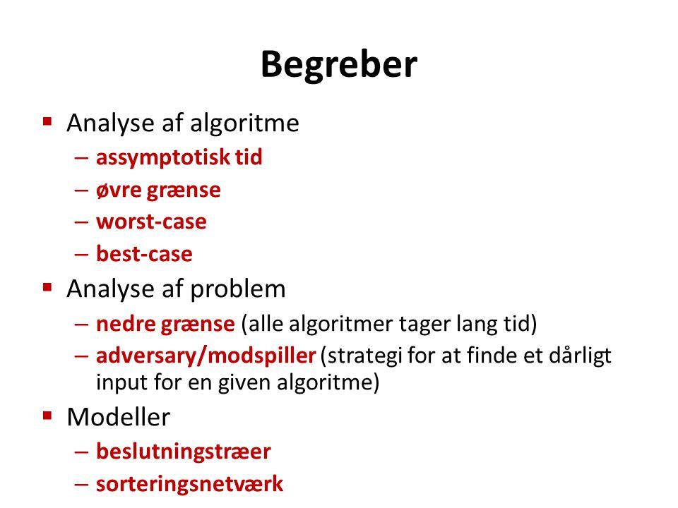 Begreber  Analyse af algoritme – assymptotisk tid – øvre grænse – worst-case – best-case  Analyse af problem – nedre grænse (alle algoritmer tager lang tid) – adversary/modspiller (strategi for at finde et dårligt input for en given algoritme)  Modeller – beslutningstræer – sorteringsnetværk