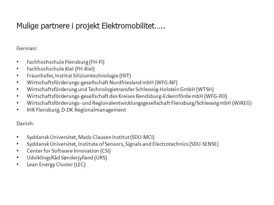 Mulige partnere i projekt Elektromobilitet…..