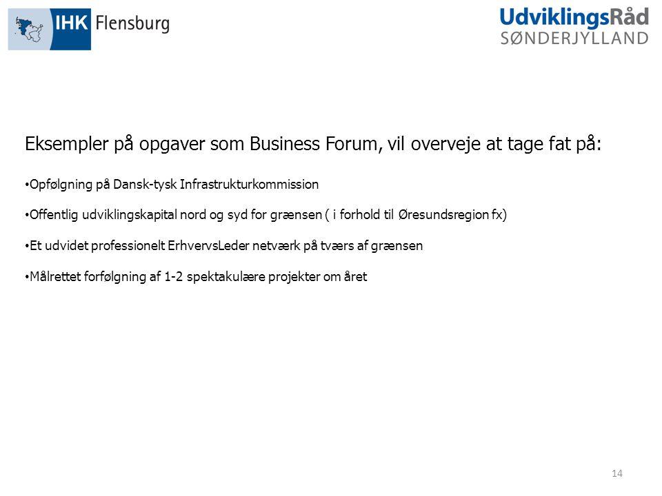 14 Eksempler på opgaver som Business Forum, vil overveje at tage fat på: Opfølgning på Dansk-tysk Infrastrukturkommission Offentlig udviklingskapital nord og syd for grænsen ( i forhold til Øresundsregion fx) Et udvidet professionelt ErhvervsLeder netværk på tværs af grænsen Målrettet forfølgning af 1-2 spektakulære projekter om året