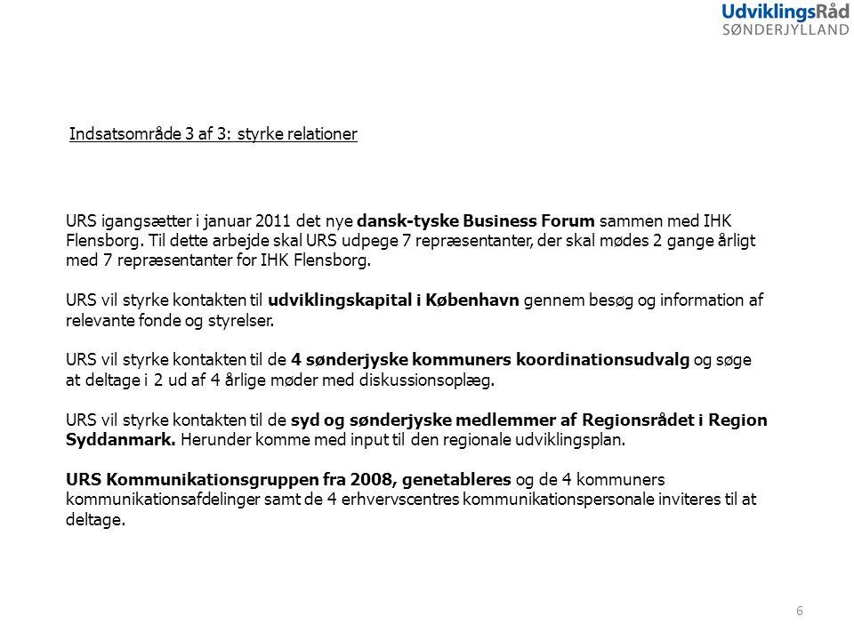 Indsatsområde 3 af 3: styrke relationer 6 URS igangsætter i januar 2011 det nye dansk-tyske Business Forum sammen med IHK Flensborg.