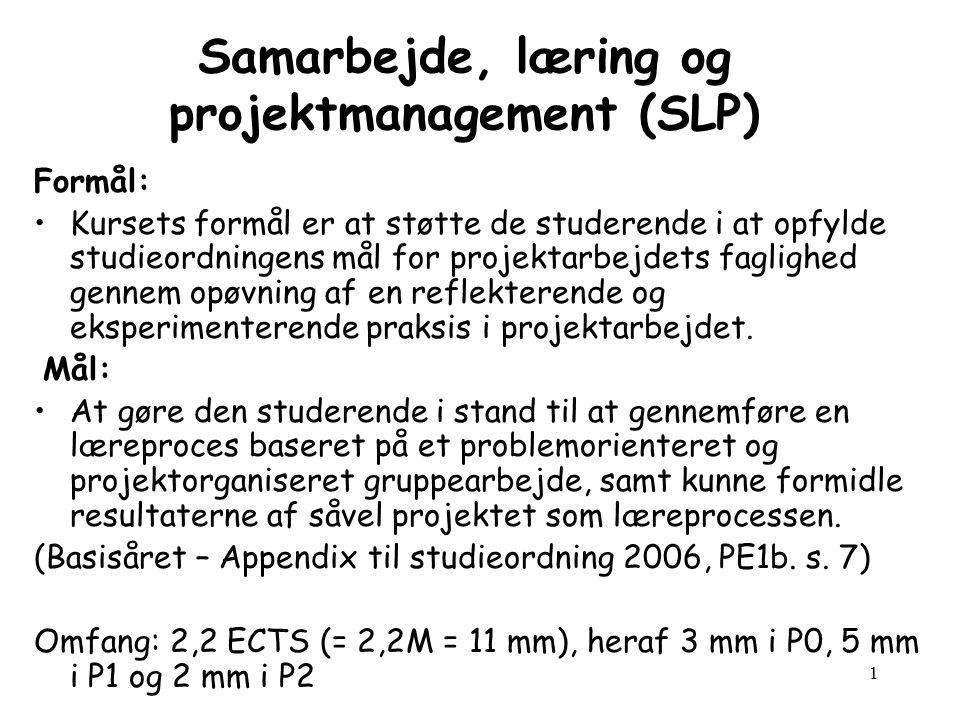 1 Samarbejde, læring og projektmanagement (SLP) Formål: Kursets formål er at støtte de studerende i at opfylde studieordningens mål for projektarbejdets faglighed gennem opøvning af en reflekterende og eksperimenterende praksis i projektarbejdet.