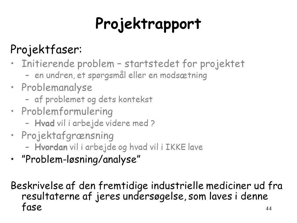 44 Projektrapport Projektfaser: Initierende problem – startstedet for projektet –en undren, et spørgsmål eller en modsætning Problemanalyse –af problemet og dets kontekst Problemformulering –Hvad vil i arbejde videre med .