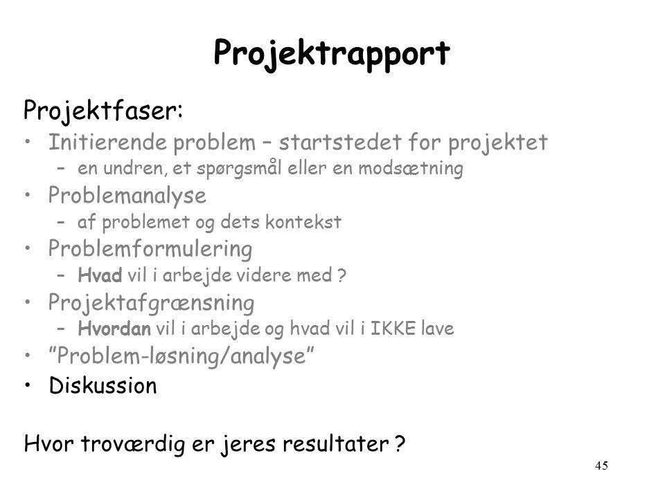 45 Projektrapport Projektfaser: Initierende problem – startstedet for projektet –en undren, et spørgsmål eller en modsætning Problemanalyse –af problemet og dets kontekst Problemformulering –Hvad vil i arbejde videre med .
