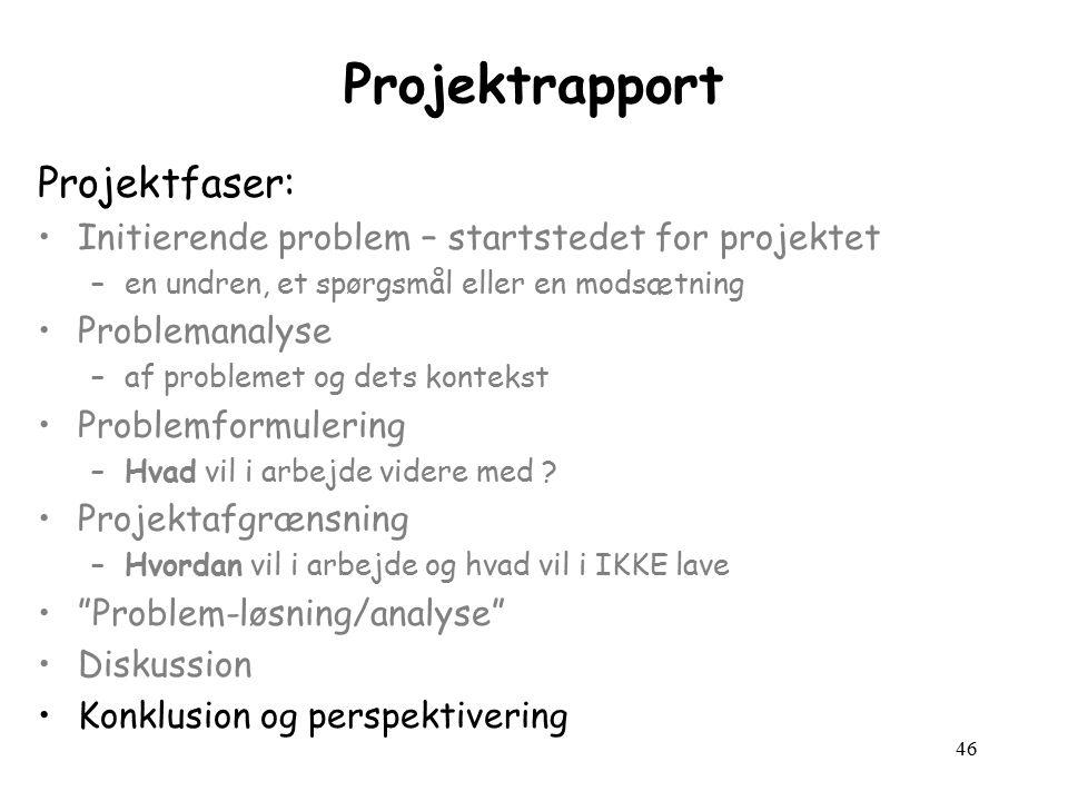 46 Projektrapport Projektfaser: Initierende problem – startstedet for projektet –en undren, et spørgsmål eller en modsætning Problemanalyse –af problemet og dets kontekst Problemformulering –Hvad vil i arbejde videre med .