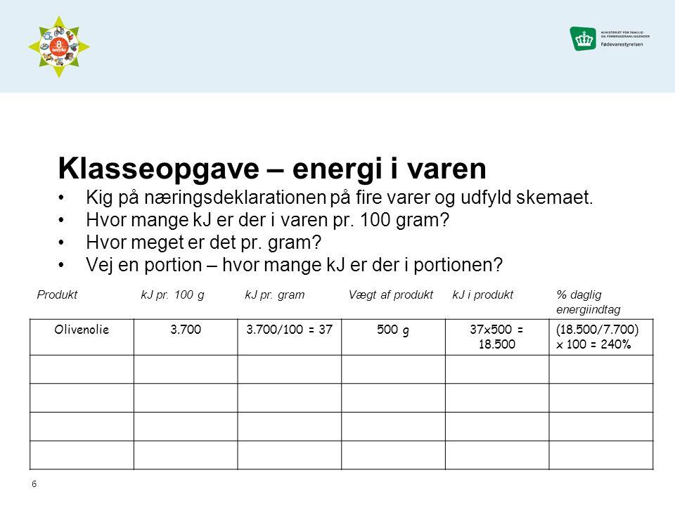 Klasseopgave – energi i varen Kig på næringsdeklarationen på fire varer og udfyld skemaet.