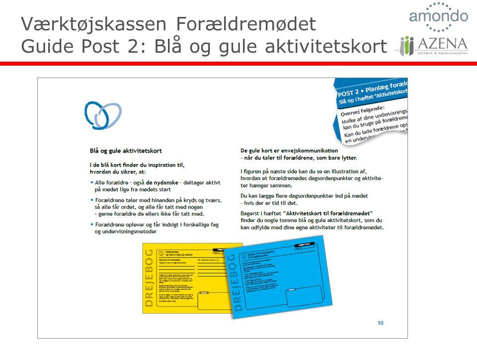 Værktøjskassen Forældremødet Guide Post 2: Blå og gule aktivitetskort