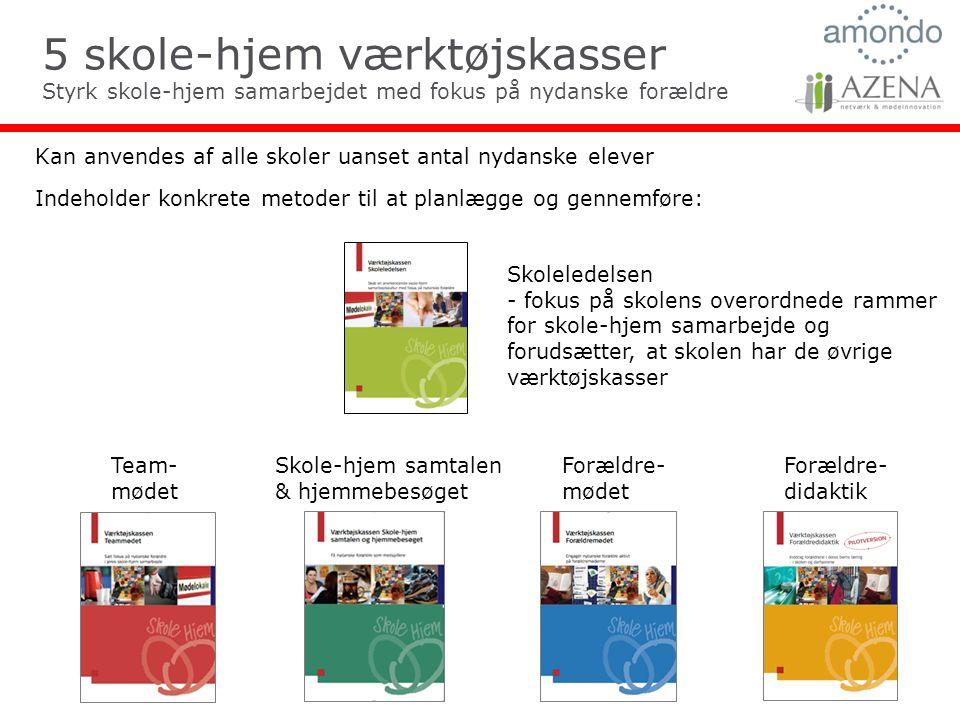 5 skole-hjem værktøjskasser Styrk skole-hjem samarbejdet med fokus på nydanske forældre Kan anvendes af alle skoler uanset antal nydanske elever Indeholder konkrete metoder til at planlægge og gennemføre: Skole-hjem samtalen & hjemmebesøget Forældre- mødet Team- mødet Forældre- didaktik Skoleledelsen - fokus på skolens overordnede rammer for skole-hjem samarbejde og forudsætter, at skolen har de øvrige værktøjskasser