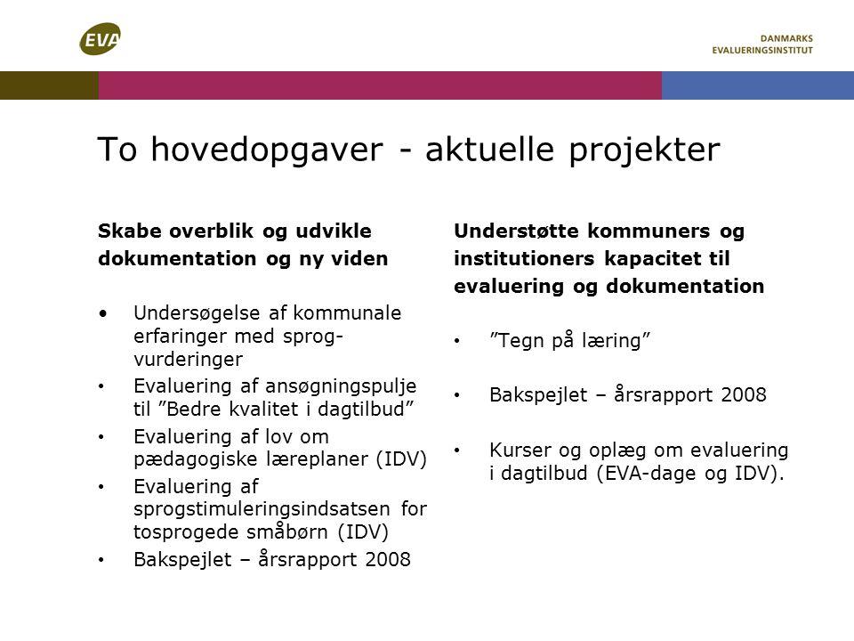To hovedopgaver - aktuelle projekter Skabe overblik og udvikle dokumentation og ny viden Undersøgelse af kommunale erfaringer med sprog- vurderinger Evaluering af ansøgningspulje til Bedre kvalitet i dagtilbud Evaluering af lov om pædagogiske læreplaner (IDV) Evaluering af sprogstimuleringsindsatsen for tosprogede småbørn (IDV) Bakspejlet – årsrapport 2008 Understøtte kommuners og institutioners kapacitet til evaluering og dokumentation Tegn på læring Bakspejlet – årsrapport 2008 Kurser og oplæg om evaluering i dagtilbud (EVA-dage og IDV).