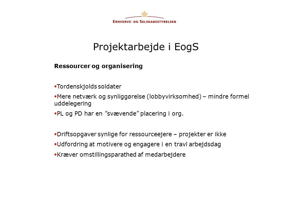 Projektarbejde i EogS Ressourcer og organisering  Tordenskjolds soldater  Mere netværk og synliggørelse (lobbyvirksomhed) – mindre formel uddelegering  PL og PD har en svævende placering i org.