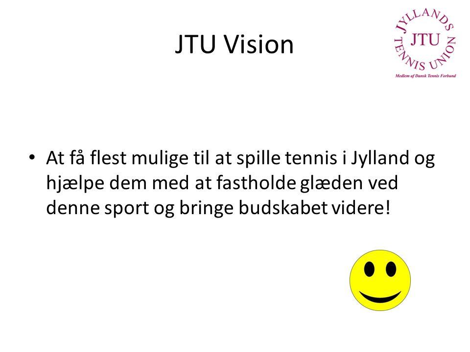 JTU Vision At få flest mulige til at spille tennis i Jylland og hjælpe dem med at fastholde glæden ved denne sport og bringe budskabet videre!