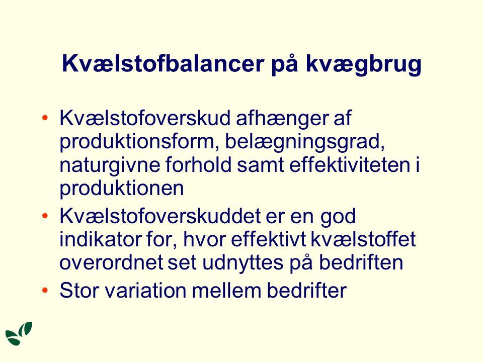 Kvælstofoverskud på konv. og økol. kvægbrug 2002, kg N pr.
