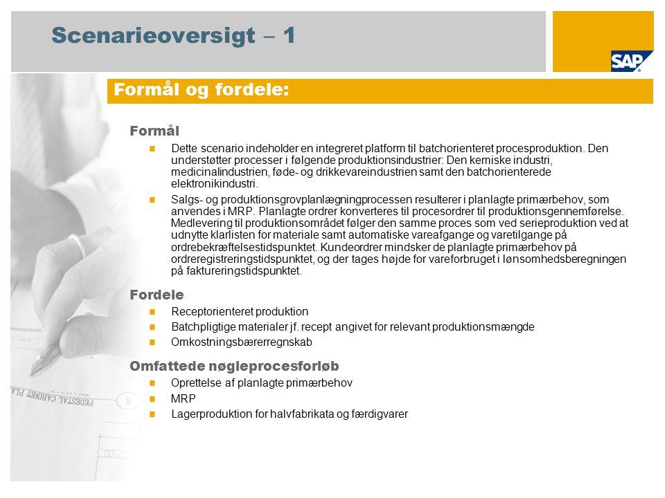 Scenarieoversigt – 1 Formål Dette scenario indeholder en integreret platform til batchorienteret procesproduktion.