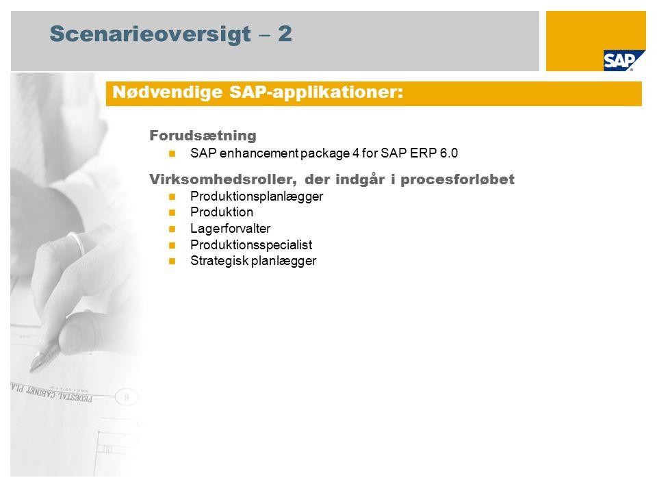 Scenarieoversigt – 2 Forudsætning SAP enhancement package 4 for SAP ERP 6.0 Virksomhedsroller, der indgår i procesforløbet Produktionsplanlægger Produktion Lagerforvalter Produktionsspecialist Strategisk planlægger Nødvendige SAP-applikationer: