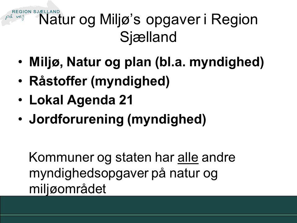 Natur og Miljø's opgaver i Region Sjælland Miljø, Natur og plan (bl.a.