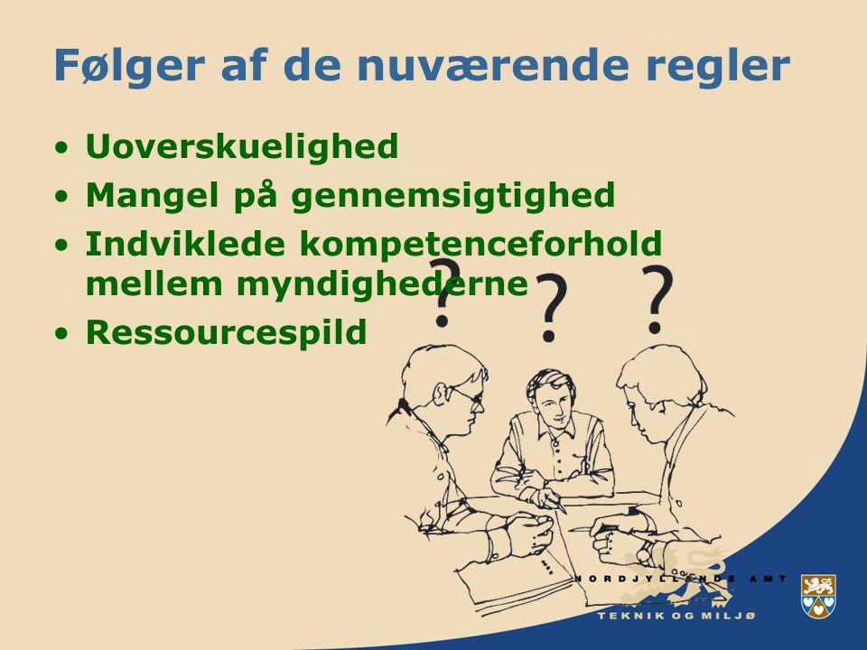 Følger af de nuværende regler Uoverskuelighed Mangel på gennemsigtighed Indviklede kompetenceforhold mellem myndighederne Ressourcespild