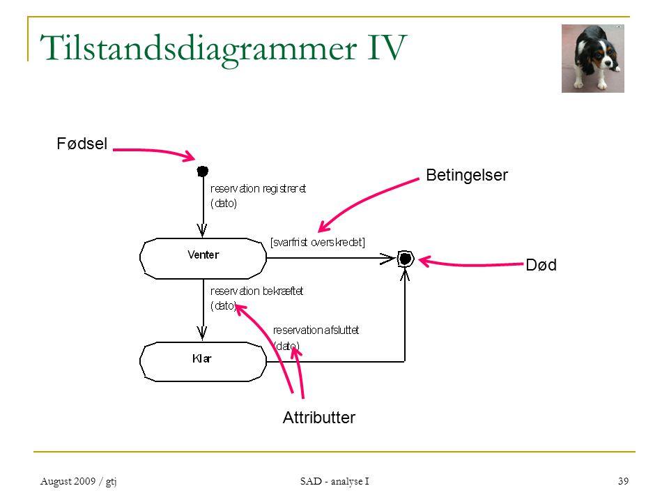 August 2009 / gtj SAD - analyse I 39 Tilstandsdiagrammer IV Attributter Betingelser Fødsel Død