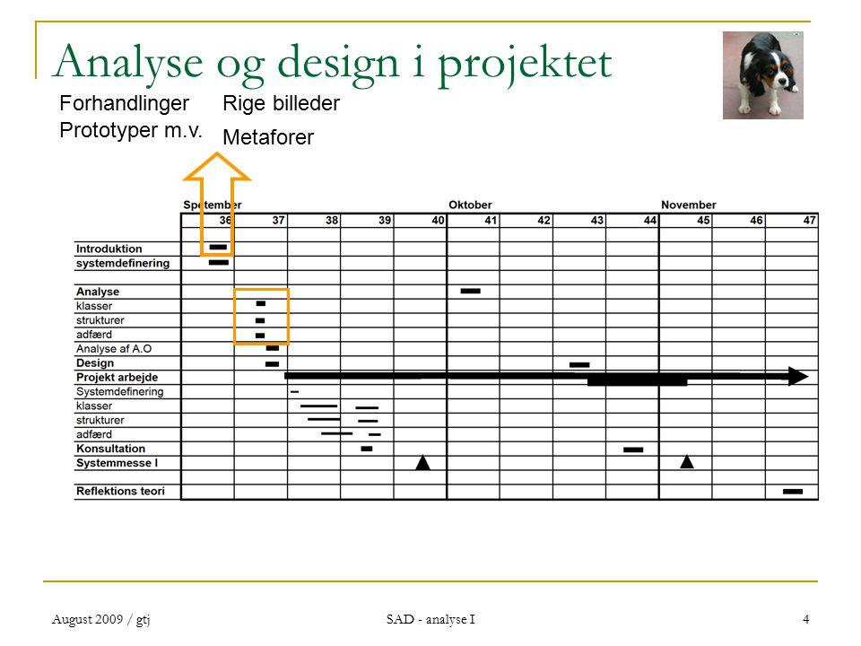 August 2009 / gtj SAD - analyse I 4 Analyse og design i projektet Rige billederForhandlinger Metaforer Prototyper m.v.