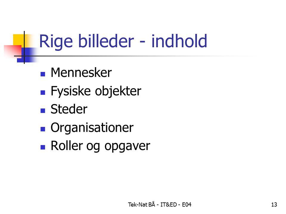 Tek-Nat BÅ - IT&ED - E0413 Rige billeder - indhold Mennesker Fysiske objekter Steder Organisationer Roller og opgaver
