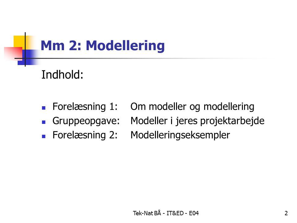 Tek-Nat BÅ - IT&ED - E042 Mm 2: Modellering Indhold: Forelæsning 1: Om modeller og modellering Gruppeopgave: Modeller i jeres projektarbejde Forelæsning 2: Modelleringseksempler