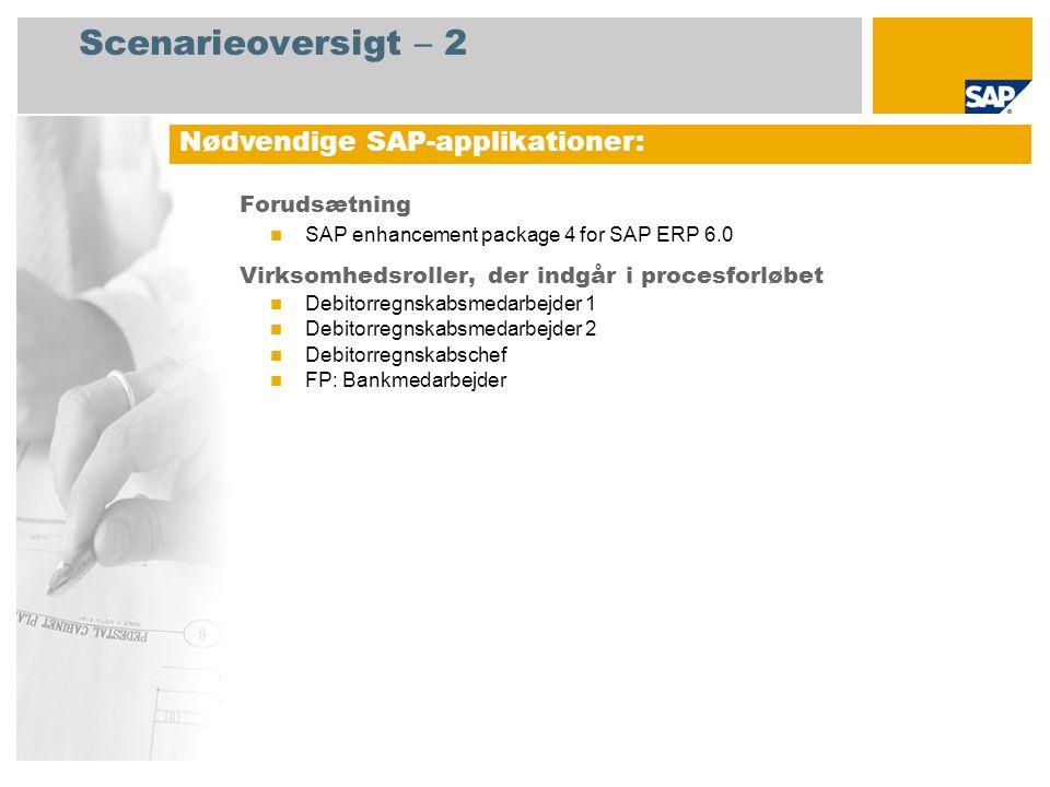 Scenarieoversigt – 2 Forudsætning SAP enhancement package 4 for SAP ERP 6.0 Virksomhedsroller, der indgår i procesforløbet Debitorregnskabsmedarbejder 1 Debitorregnskabsmedarbejder 2 Debitorregnskabschef FP: Bankmedarbejder Nødvendige SAP-applikationer: