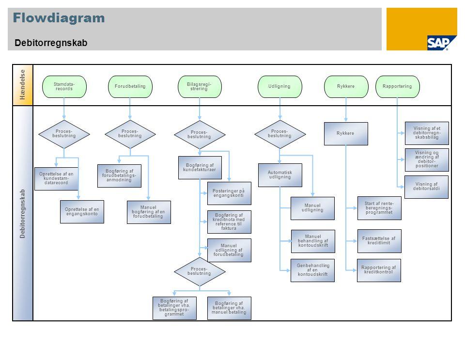 Flowdiagram Debitorregnskab Proces- beslutning Stamdata- records Forudbetaling Oprettelse af en engangskonto Proces- beslutning Rapportering Oprettelse af en kundestam- datarecord UdligningRykkere Bilagsregi- strering Manuel bogføring af en forudbetaling Bogføring af forudbetalings- anmodning Bogføring af kundefakturaer Bogføring af kreditnota med reference til faktura Proces- beslutning Automatisk udligning Start af rente- beregnings- programmet Rykkere Fastsættelse af kreditlimit Visning og ændring af debitor- positioner Visning af et debitorregn- skabsbilag Manuel behandling af kontoudskrift Genbehandling af en kontoudskrift Posteringer på engangskonti Proces- beslutning Bogføring af betalinger vha.