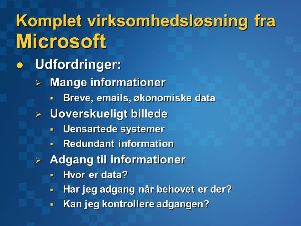 Komplet virksomhedsløsning fra Microsoft Udfordringer: Udfordringer:  Mange informationer  Breve, emails, økonomiske data  Uoverskueligt billede  Uensartede systemer  Redundant information  Adgang til informationer  Hvor er data.