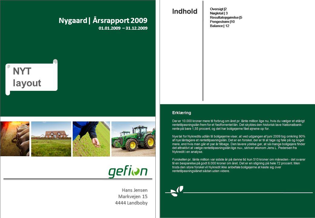 Produktet Hans Jensen Markvejen 15 4444 Landboby Nygaard| Årsrapport 2009 01.01.2009 – 31.12.2009 NYT layout