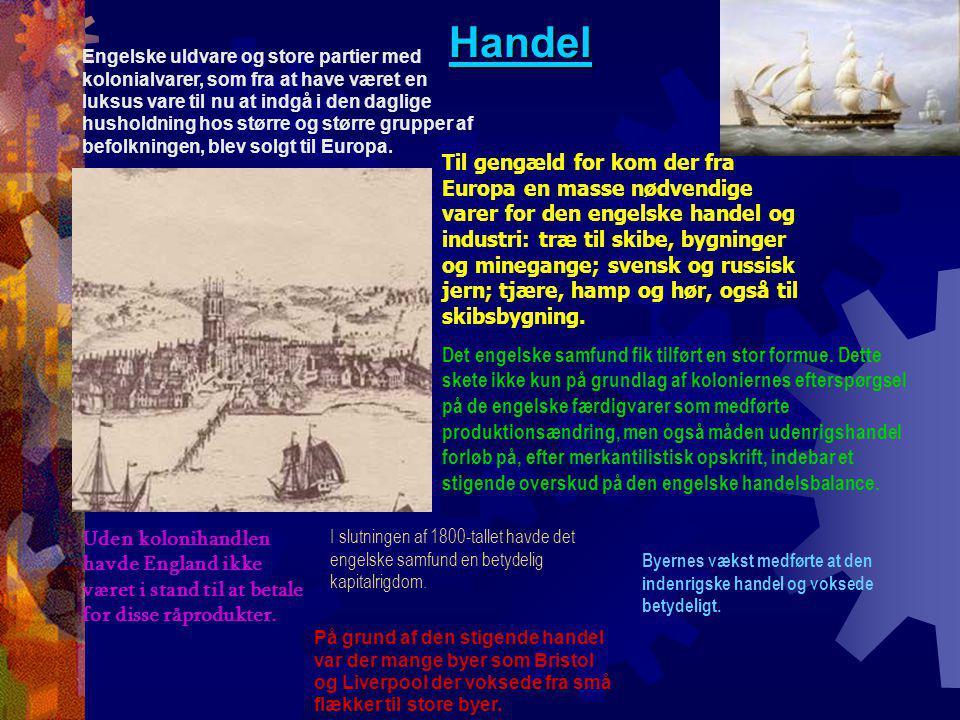 Handel Engelske uldvare og store partier med kolonialvarer, som fra at have været en luksus vare til nu at indgå i den daglige husholdning hos større og større grupper af befolkningen, blev solgt til Europa.