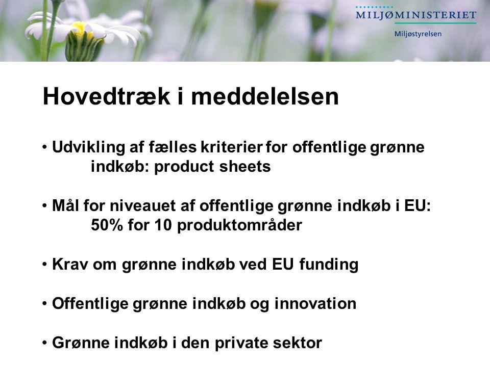 Hovedtræk i meddelelsen Udvikling af fælles kriterier for offentlige grønne indkøb: product sheets Mål for niveauet af offentlige grønne indkøb i EU: 50% for 10 produktområder Krav om grønne indkøb ved EU funding Offentlige grønne indkøb og innovation Grønne indkøb i den private sektor