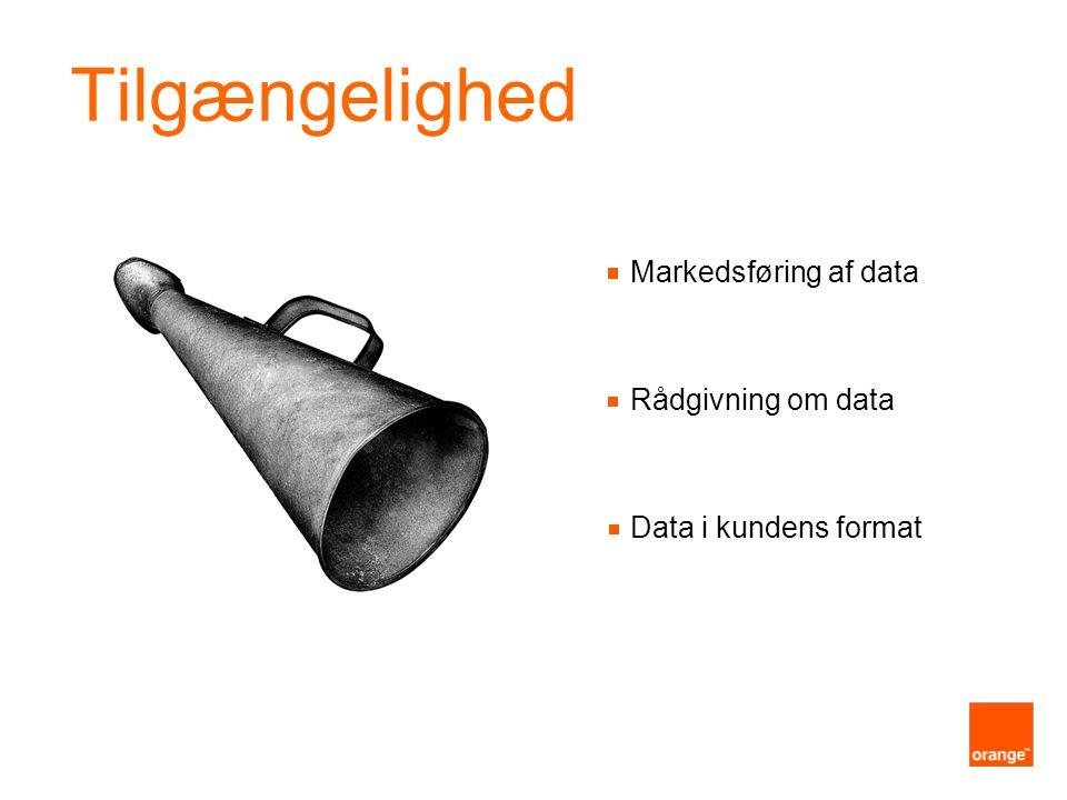 Markedsføring af data Rådgivning om data Data i kundens format Tilgængelighed