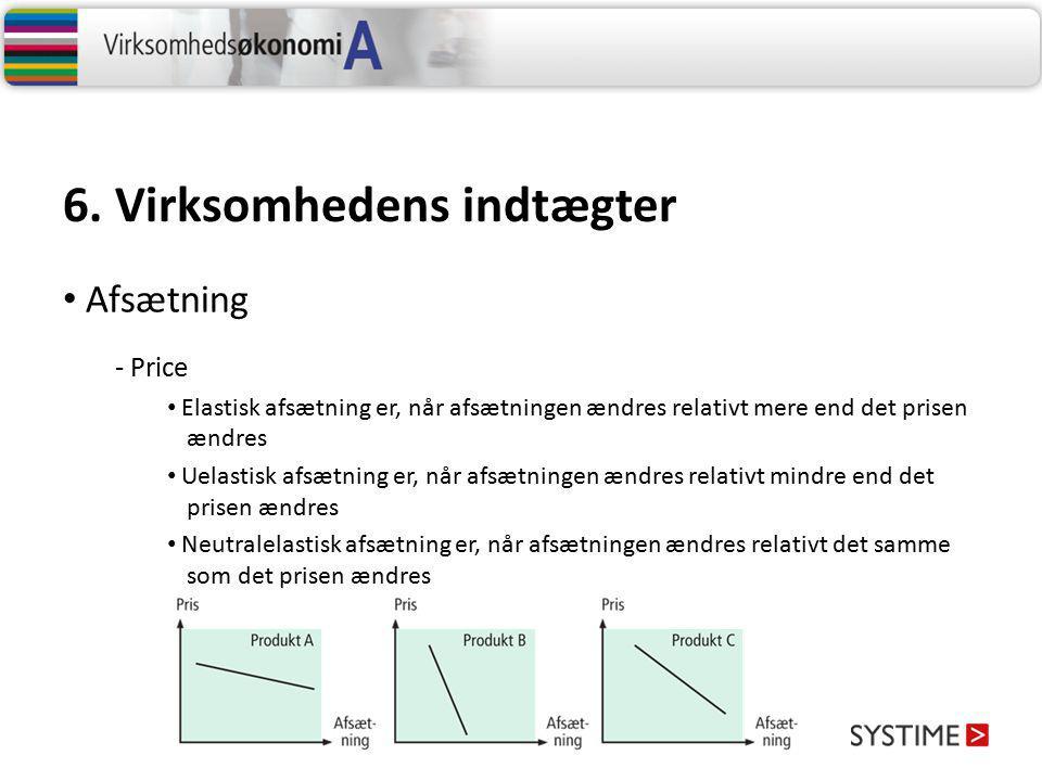 6. Virksomhedens indtægter - Price Elastisk afsætning er, når afsætningen ændres relativt mere end det prisen ændres Uelastisk afsætning er, når afsæt