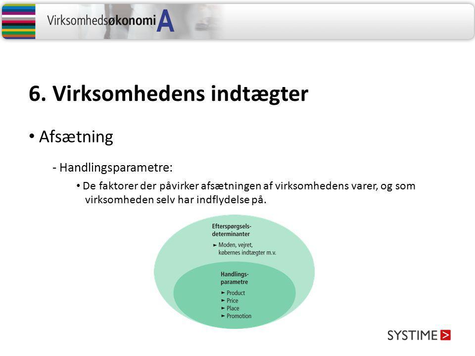 6. Virksomhedens indtægter - Handlingsparametre: De faktorer der påvirker afsætningen af virksomhedens varer, og som virksomheden selv har indflydelse