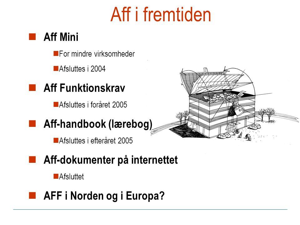 Aff i fremtiden Aff Mini For mindre virksomheder Afsluttes i 2004 Aff Funktionskrav Afsluttes i foråret 2005 Aff-handbook (lærebog) Afsluttes i efteråret 2005 Aff-dokumenter på internettet Afsluttet AFF i Norden og i Europa