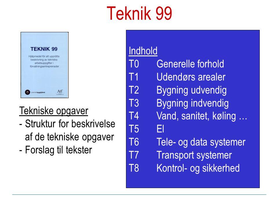 Indhold T0Generelle forhold T1Udendørs arealer T2Bygning udvendig T3Bygning indvendig T4Vand, sanitet, køling … T5El T6Tele- og data systemer T7Transport systemer T8Kontrol- og sikkerhed Tekniske opgaver -Struktur for beskrivelse af de tekniske opgaver -Forslag til tekster Teknik 99