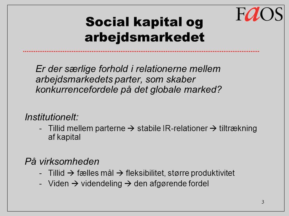 3 Social kapital og arbejdsmarkedet Er der særlige forhold i relationerne mellem arbejdsmarkedets parter, som skaber konkurrencefordele på det globale marked.
