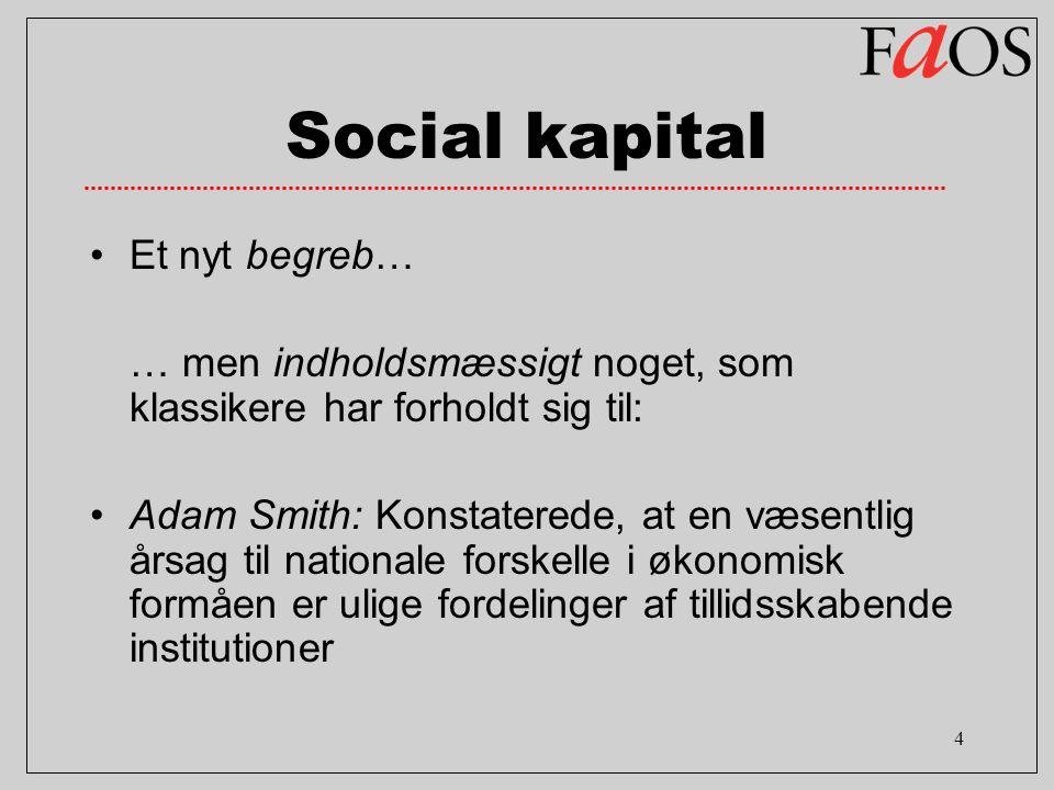 4 Social kapital Et nyt begreb… … men indholdsmæssigt noget, som klassikere har forholdt sig til: Adam Smith: Konstaterede, at en væsentlig årsag til nationale forskelle i økonomisk formåen er ulige fordelinger af tillidsskabende institutioner