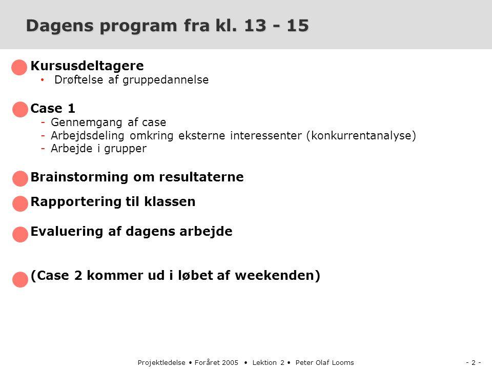 - 2 -Projektledelse Foråret 2005 Lektion 2 Peter Olaf Looms Dagens program fra kl.