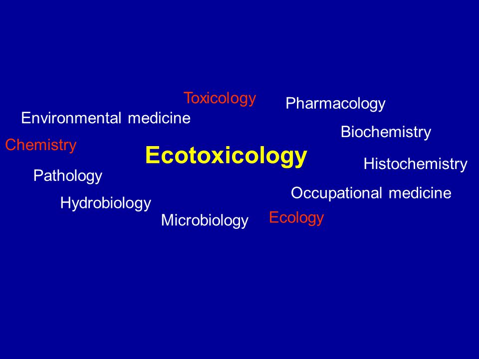 Ecotoxicology Environmental medicine Toxicology Pharmacology Biochemistry Histochemistry Occupational medicine Ecology Microbiology Hydrobiology Pathology Chemistry