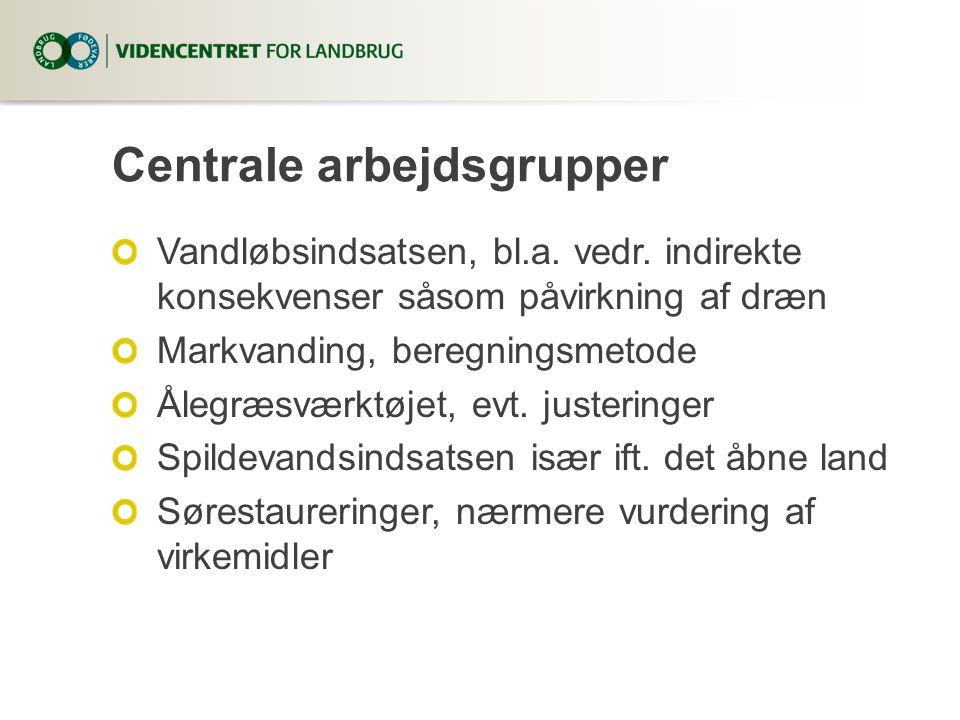 Centrale arbejdsgrupper Vandløbsindsatsen, bl.a. vedr.
