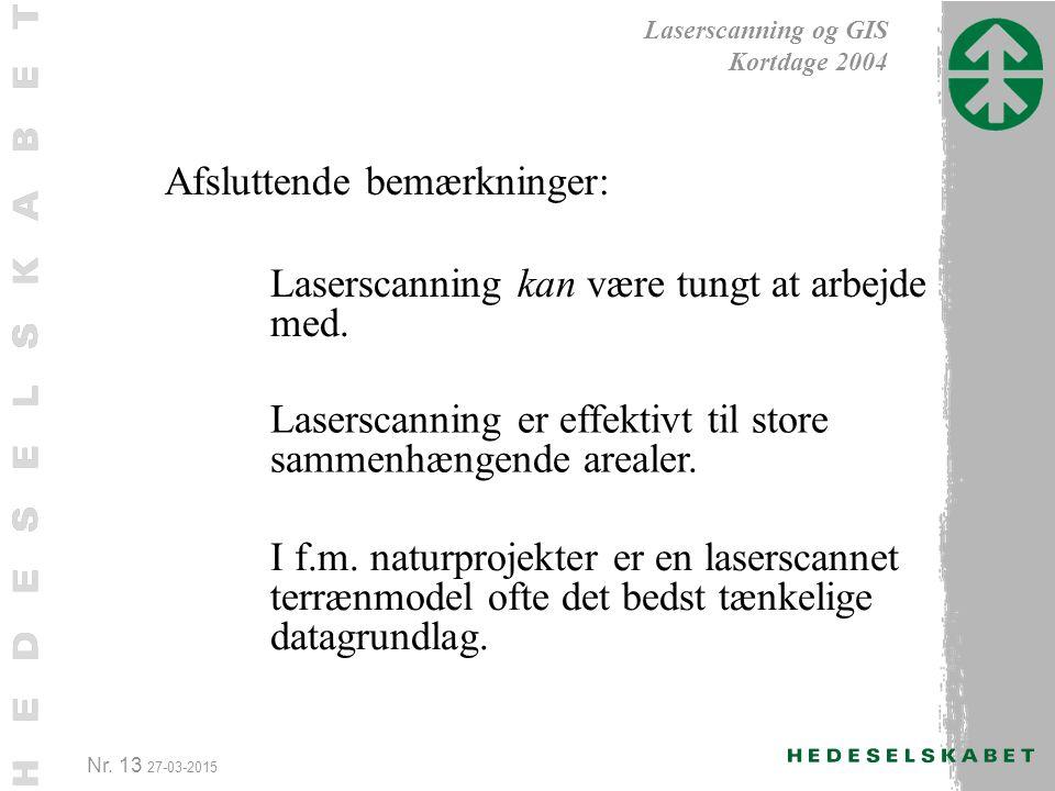 Nr. 13 27-03-2015 Laserscanning og GIS Kortdage 2004 I f.m.