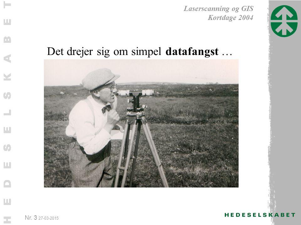 Nr. 3 27-03-2015 Laserscanning og GIS Kortdage 2004 Det drejer sig om simpel datafangst …