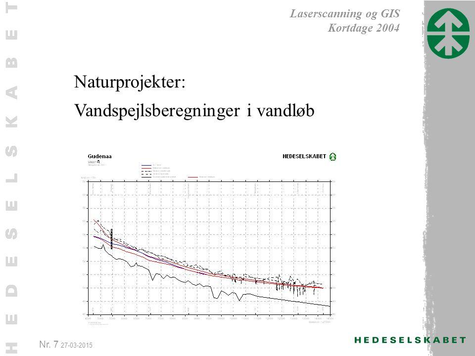 Nr. 7 27-03-2015 Laserscanning og GIS Kortdage 2004 Naturprojekter: Vandspejlsberegninger i vandløb