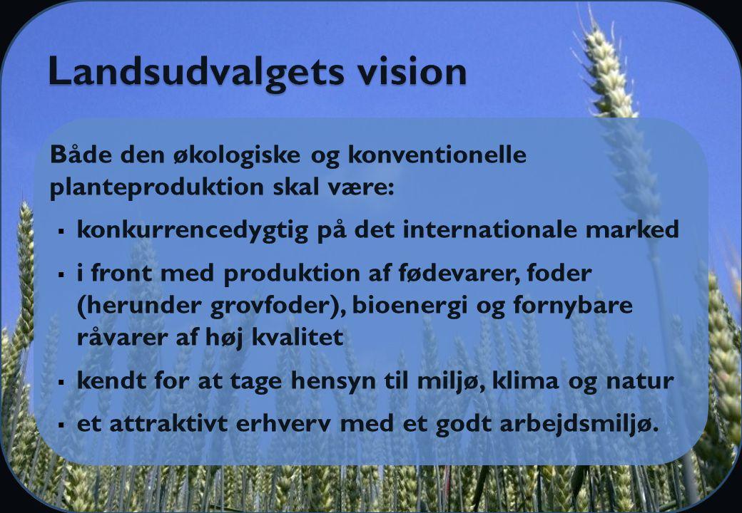 Både den økologiske og konventionelle planteproduktion skal være:  konkurrencedygtig på det internationale marked  i front med produktion af fødevarer, foder (herunder grovfoder), bioenergi og fornybare råvarer af høj kvalitet  kendt for at tage hensyn til miljø, klima og natur  et attraktivt erhverv med et godt arbejdsmiljø.