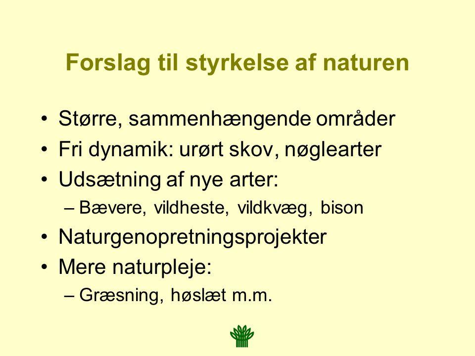 Forslag til styrkelse af naturen Større, sammenhængende områder Fri dynamik: urørt skov, nøglearter Udsætning af nye arter: –Bævere, vildheste, vildkvæg, bison Naturgenopretningsprojekter Mere naturpleje: –Græsning, høslæt m.m.