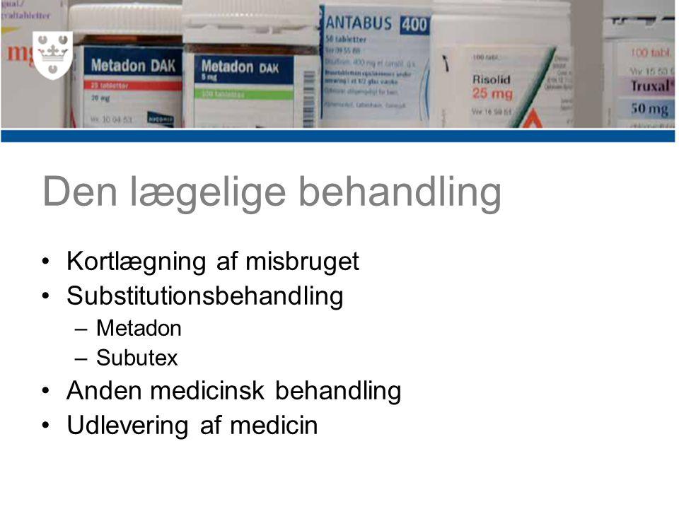 Den lægelige behandling Kortlægning af misbruget Substitutionsbehandling –Metadon –Subutex Anden medicinsk behandling Udlevering af medicin