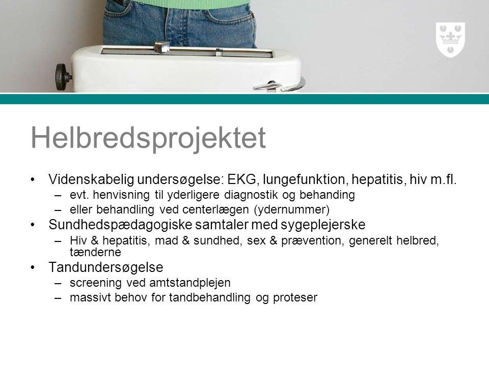 Helbredsprojektet Videnskabelig undersøgelse: EKG, lungefunktion, hepatitis, hiv m.fl.