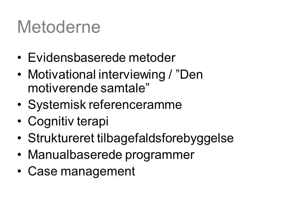 Metoderne Evidensbaserede metoder Motivational interviewing / Den motiverende samtale Systemisk referenceramme Cognitiv terapi Struktureret tilbagefaldsforebyggelse Manualbaserede programmer Case management