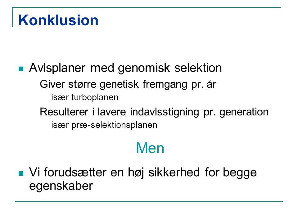 Konklusion Avlsplaner med genomisk selektion Giver større genetisk fremgang pr.