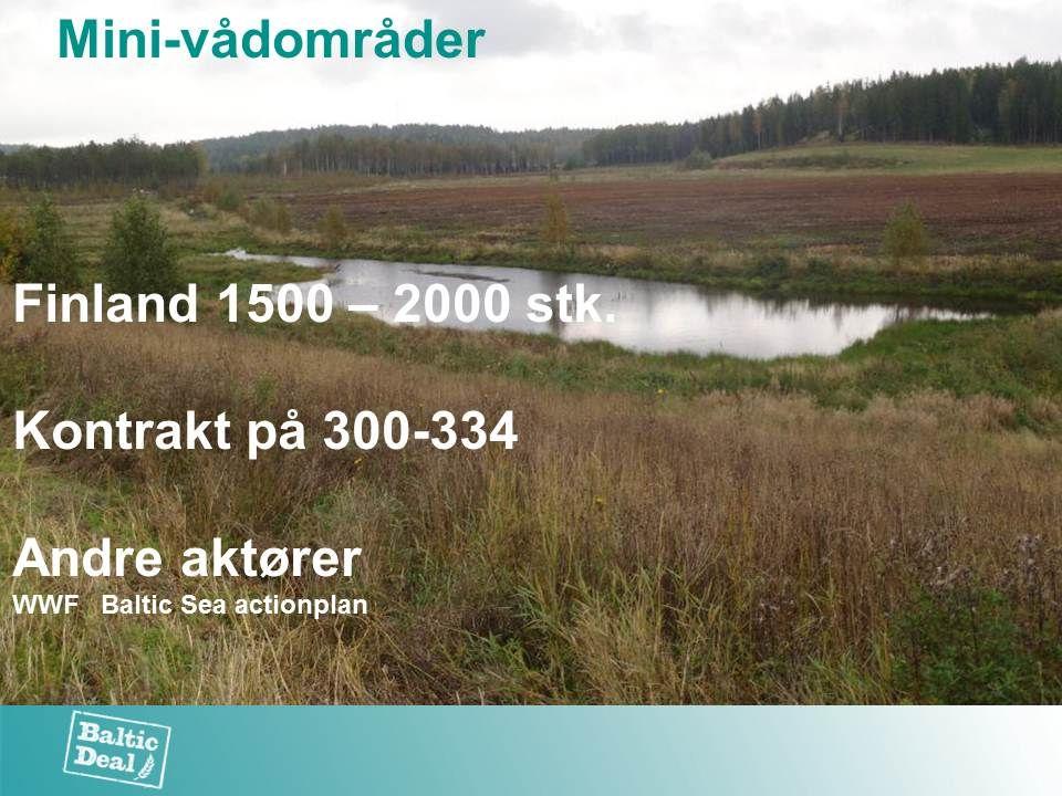 Finland 1500 – 2000 stk. Kontrakt på 300-334 Andre aktører WWF Baltic Sea actionplan